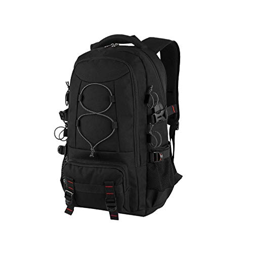 BAIGIO 17.3 Inches Laptop Bag Travel Backpack for Men Women Outdoor Water Resistant Hiking Backpacks Camping Rucksack Pack College School Daypack, Black