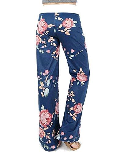 Lucky Star Women's Floral Drawstring High Waist Wide Leg Pants (X-Large, White ()