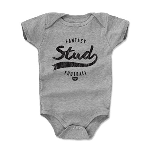 500 LEVEL Fantasy Football Baby Clothes, Onesie, Creeper, Bodysuit - 18-24 Months Heather Gray - Fantasy Football Stud Stamp