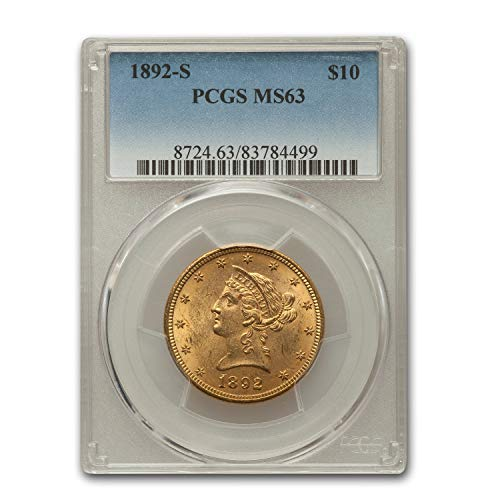 1892 S $10 Liberty Gold Eagle MS-63 PCGS G$10 MS-63 PCGS