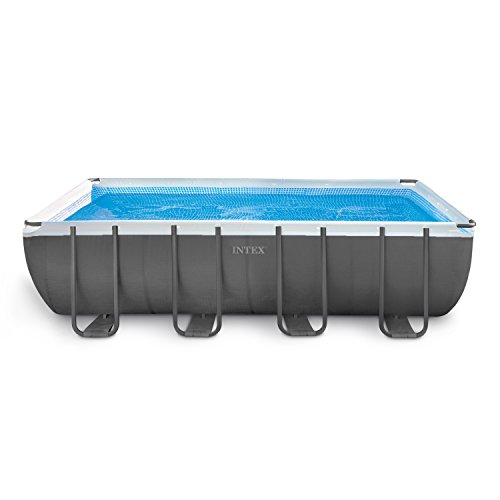 Intex 18ft X 9ft X 52in Ultra Frame Rectangular Pool Set with Sand Filter Pump, Ladder, Ground Cloth & Pool Cover Deep Swimming Pool Package