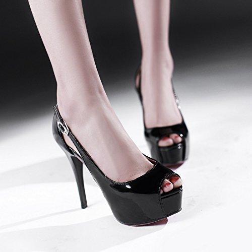 Femmes avec Aiguille Rond Bout cm Sexy Noir Plateforme Escarpins Boucle 13 Haut Peep Toe et DE UH à Talon 1fwS5qcx