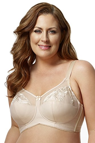Elila Women's Embroidered Microfiber Soft-Cup Bra 1301 54E Nude