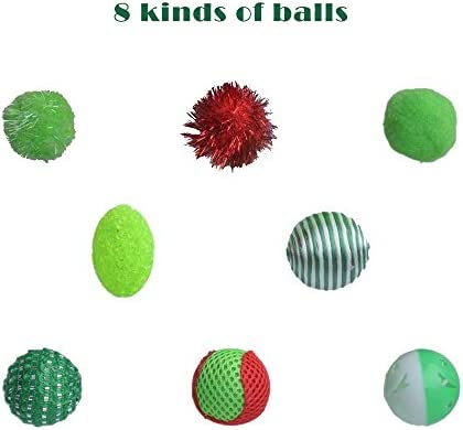 EXPAWLORER 12 PCS Christmas Cat Toys Green Package, Including Ball, Mouse, Bell 5