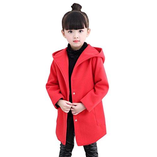 Children's Autumn Winter Jackets, Keepfit Girls Cute Windbreakers Outerwear Wool Coat Tops for Kids (5T-6T, Red) by Keepfit