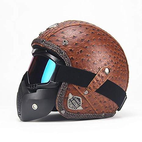 BBX Moto Cascos Retro Hechos A Mano Personalidad Retro Harley Casco Moto Coche 3/4 Cuero Casco Medio Casco Hombres Y Mujeres Temporadas, Red, M