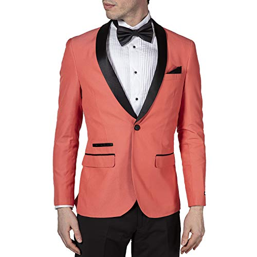 (Adam Baker West End Men's 9-3457 Slim Fit One Button Satin Shawl Collar 2-Piece Tuxedo Suit - Salmon-50S)