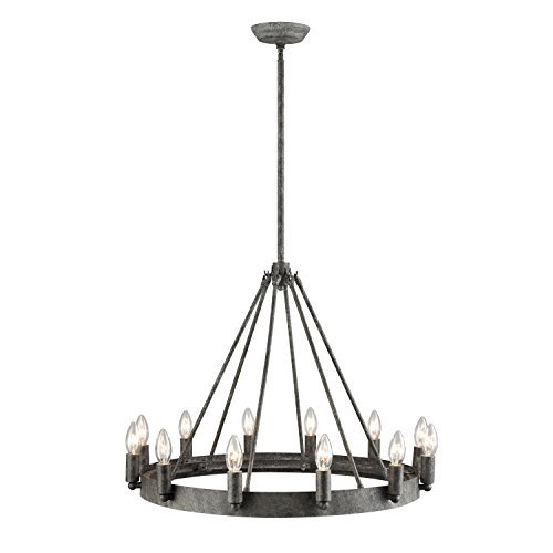 Round Twelve Light Chandelier - DANXU 12-Light Indoor Retro Chandelier, Antique Pendant Light, Rustic Grey Metal
