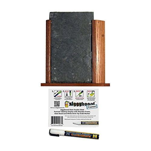Ziggyboard Chalkboard Tabletop Display Features Double Sided 5 by 9 Inch Chalkboard in a Wooden Frame and Includes One Broad Chisel 6mm Tip White Chalk Marker (Commercial Wooden Table Tops compare prices)