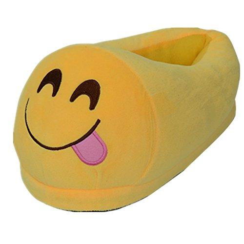 Dolphineshow Mignonne Emoji Hiver Caca Chaussures En Forme Unisexe - Pantoufles Adultes Emoji Stuff Peluche Poupée Jouet (merde) Smile-b