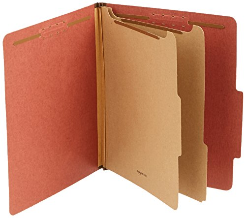 Basic Filing Pocket - AmazonBasics Pressboard Classification File Folder with Fasteners, 2 Dividers, 2 Inch Expansion, Letter Size, Red, 10-Pack