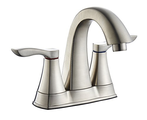 TimeArrow Two Handle Centerset Bathroom Sink Faucet with Lead Free Waterway, Brushed Nickel
