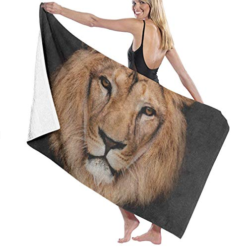 Beach Bath Towel Hipster Lion Head Black 1 Personalized Custom Women Men Quick Dry Lightweight Beach & Bath Blanket Great for Beach Trips, Pool, Swimming and Camping 31