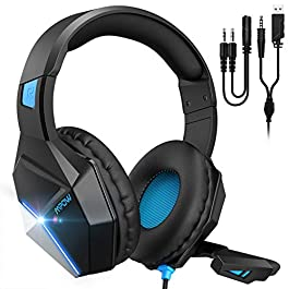 Mpow EG10 Stereo Gaming Headset for PS4, PC, Xbox One w Noise-Cancelling Mic, 50mm Speaker Drivers, Volume-Controlled, LED Light Headphones for Xbox one(Black)