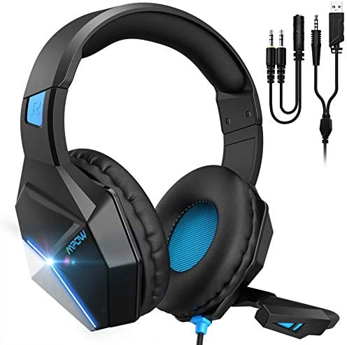 Mpow EG10 PC Gaming Headset for PS4,PS5,PC,Xbox One,Switch -7.1 Surround Sound Headset with Microphone,Noise Cancelling,LED Light,Soft Earmuffs,Gaming Headphone with Microphone for PC Headset