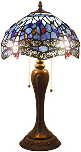 Tiffany Lamps Sea Blue Stained Glass and Crystal Bead Dragonfly Style Table Lamp Height 22 Inch for Coffee Table Living Room Antique Desk Beside Bedroom Blue Table Lamp W12 Inch H22 Inch