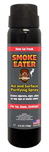 Smoke Eater - Breaks Down Smoke Odor at The Molecular Level - Eliminates Cigarette, Cigar or Pot Smoke On Clothes, in Cars, Homes, and Office - 3.5 oz Travel Spray Bottle (New CAR Fresh AEROSOL) (Best Spray For Smoke Smell)