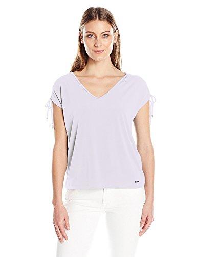 Solid Cold-Shoulder Matte Jersey Top (Large, Lilac) (Matte Jersey Top)
