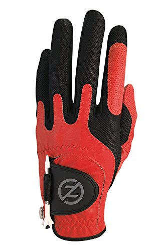 Zero Friction Mens Golf Gloves, Left Hand, One Size, Red