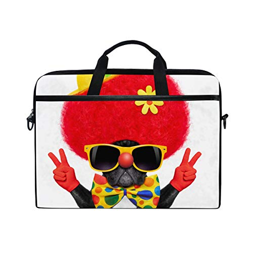 TARTINY 15-15.4 Inch Laptop Bag Silly Dog Wearing Clown Costume Peace Shoulder Messenger Bags Sleeve Case Tablet Briefcase with Handle Strap -