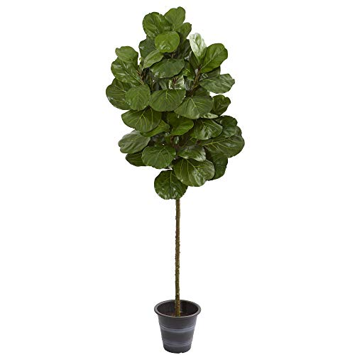 Nearly Natural 9138 6.5-Ft. Fiddle Leaf Artificial Decorative Planter Silk Trees, ()