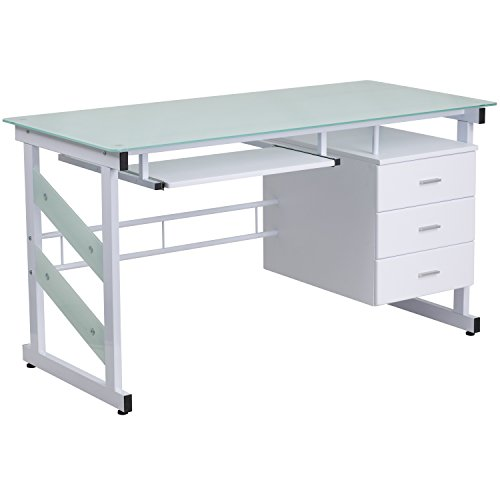 White Office/Computer Desk with Frosted Glass Top and Three Drawer Pedestal