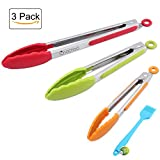 #9: Stainless Steel Kitchen Tongs, Set of 3 - 7,9,12 Inch,Non-Stick Food Tongs with Silicone Tips for Barbeque, Cooking, Grilling Turner(multi color - Green, Red, Orange)