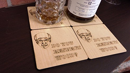 Set of 4 Wooden ''Do You Respect Wood?'' Larry David Coasters by Wooden Shoe Designs (Image #3)