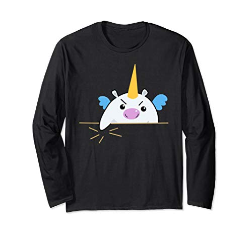 Unicorn Making Gesture Funny Statement Long Sleeve Shirt
