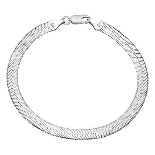 5.5mm Solid 925 Sterling Silver Italian Crafted Herringbone Bracelet, 8