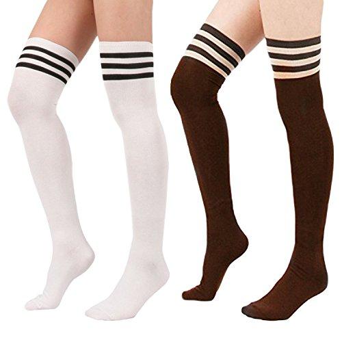 [Zando Women's Triple Stripe Casual Over the Knee Thigh High Long Stocking Socks 2Pairs-White/Brown] (Asian Guy Halloween Costume)