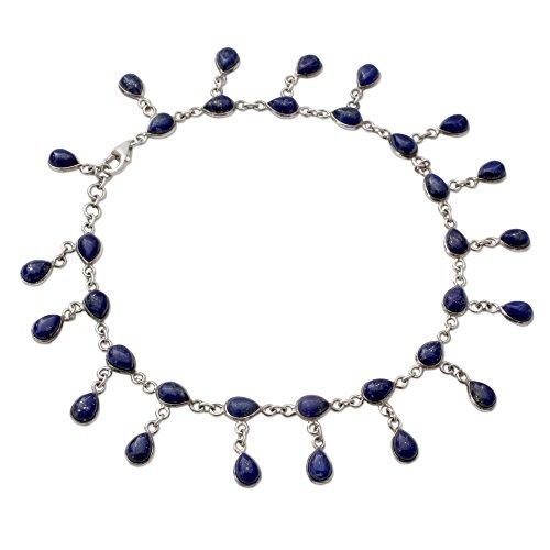 (NOVICA Lapis Lazuli .925 Sterling Silver Link Anklet, 10.25