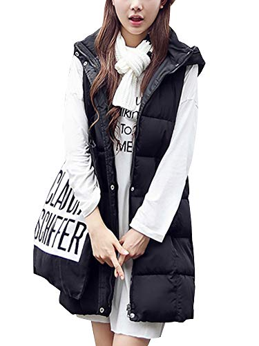 Sobrisah Womens Casual Hooded Coat Zipper Up Thickened Warm Sleeveless Slim Fit Long Down Vest Jacket with Pockets