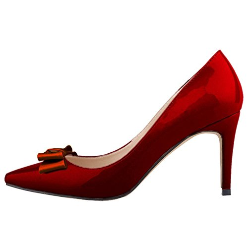 Dethan Pumps Wine Bowknot Womens Dress Red Color Pointed Patent Shoes Toe Leather Candy A8AwPrXqx