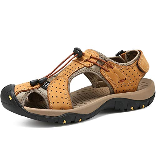 Hivot Sandals Mens Leather Flats Leisure Summer Outdoor Leather Flats Casual Beach Shoes Sport Sandals Shoes Yellow