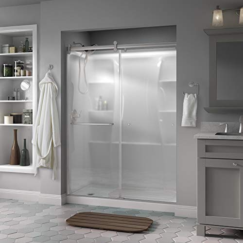 "Delta Shower Doors SD3957000 Classic Semi-Frameless Contemporary Sliding Shower, 60"" x 71"", Nickel/Niebla Glass"