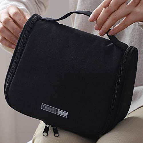 化粧品収納ボックス 大容量の旅行用化粧品収納ボックスポータブルポータブルバスアメニティ収納袋カチオン素材軽量ポータブルブラックグレー XLSM (Color : Black)