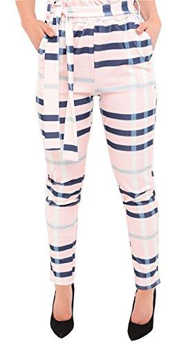 moda Pink 21 Pantalones One de Beige Size Women Plaid 855qxg