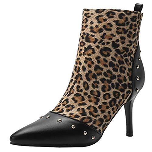 Sjjh Women Boots Stiletto Leopard Fashion Ankle qPxqfR
