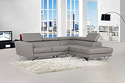 US Pride Furniture Delia Bonded Leather Facing Left Chaise Modern Sectional Sofa Set