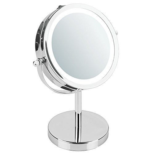 iDesign Lighted Free Standing Vanity Makeup Mirror for Bathroom Countertops - -