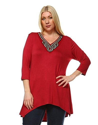 MILI Women's Plus Size Tunic Top With V-Neck Embellished A-Line 3/4 (Womens Embellished V-neck)
