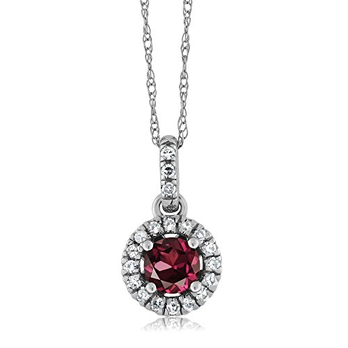 18K White Gold Diamond Halo Solitaire Pendant 0.47 Ct Round Red Rhodolite Garnet by Gem Stone King