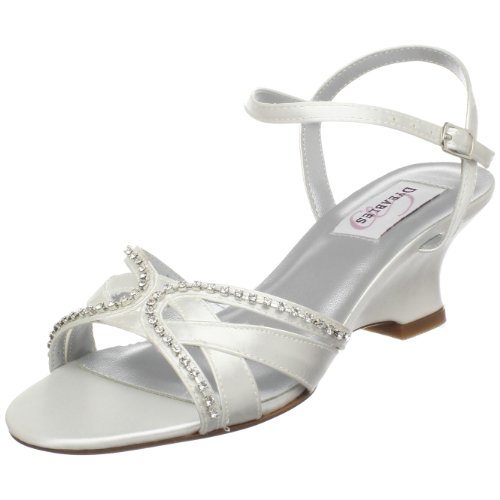 Dyeables Women's Peg Wedge Sandal,White Satin,9 B US (Satin White Sandal Dyeable)