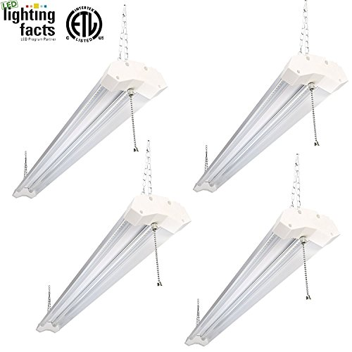 Hykolity 4ft 40w LED Shop Garage Hanging Light Fixture 4800 Lumens 5000K Daylight White Linkable 64w Flourscent Equivalent with 1.5 Times Light Output-Pack of 4 by hykolity