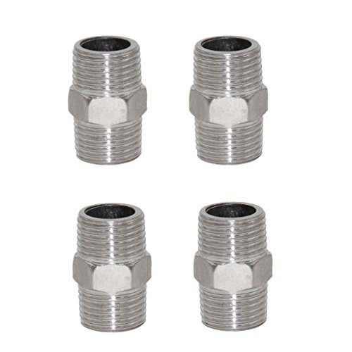 MagiDeal 4pcs Stainless Steel 1/2'' Male To Male Thread Connector Pipe Fitting Coupler Joint (1/2' Male Connectors Threaded)