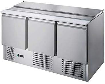 Saladette - Kühltisch mit Deckel - 3 Türen - Salatkühlung -Gastro - Edelstahlabdeckung und Arbeitsfläche aus Edelstahl