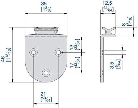 Gleiter mit Anschraubplatte f/ür SLIDUP 1900 Schiebet/ürbeschlag