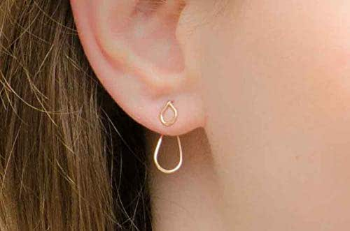 14k Gold Plated Front Back Earrings GOLD Ear Jacket Freshwater PEARL Studs on GOLD-filled posts Minimal 5 Squares Double Sided Earrings