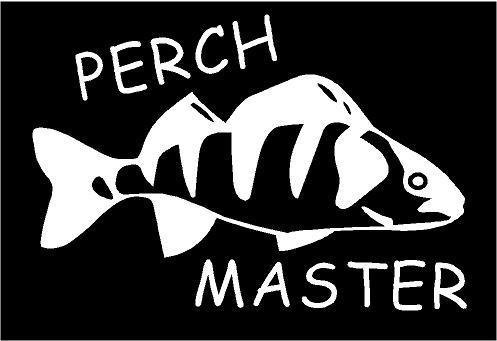 WHITE Vinyl Decal - Perch Master fish fishing boat fun sticker lake rod reel, Die Cut Decal Bumper Sticker For Windows, Cars, Trucks, Laptops, Etc. Fun Perch